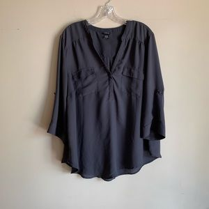 Torrid Grey Oversized Roll Tab Sleeves Blouse